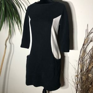 Boden Navy Ribbed Color Block Shift Dress.